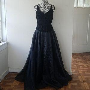 Vintage Black Taffeta Strappy Glitter Gown